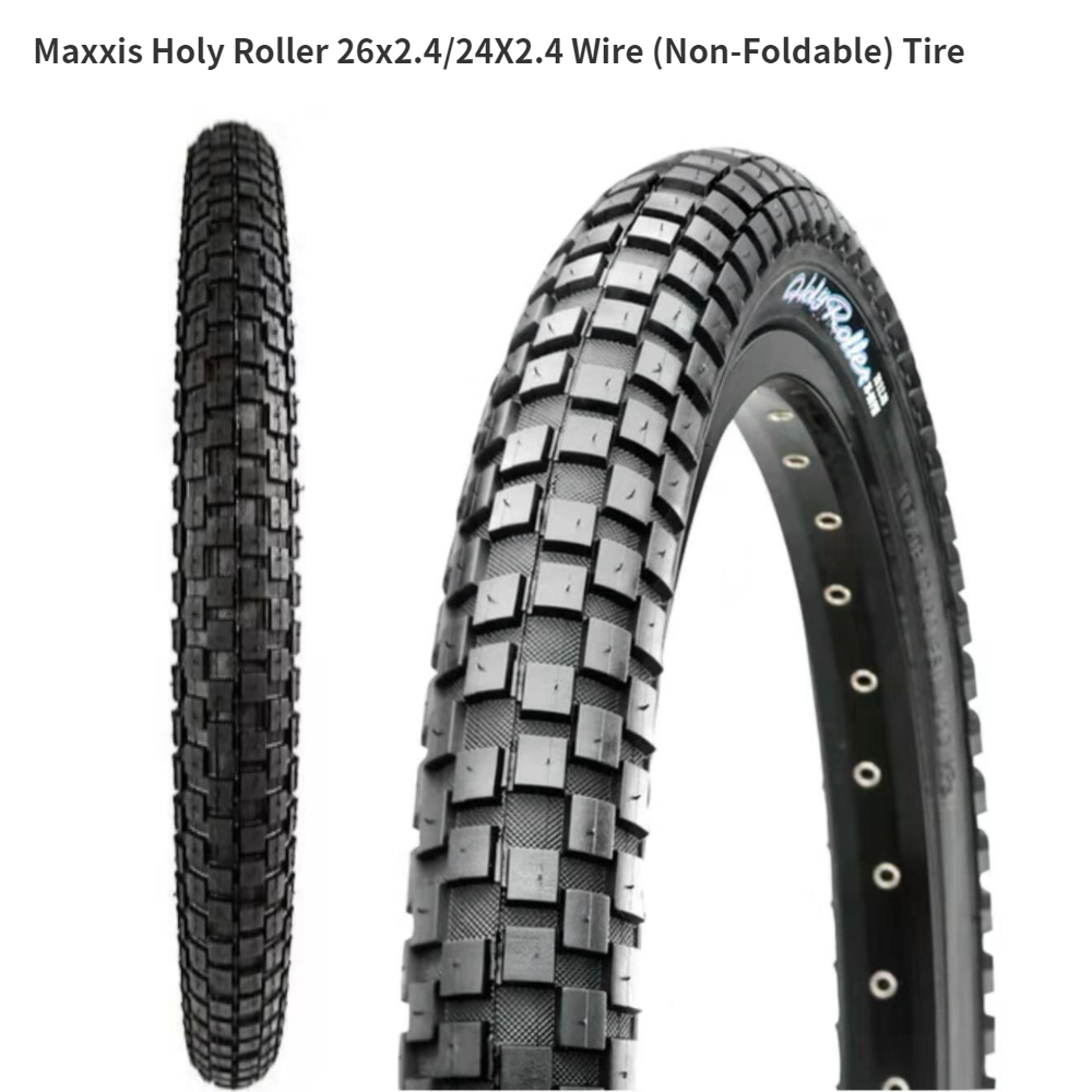 60tpi 26 x 2.40 Black Maxxis Holy Roller Wired Tyre