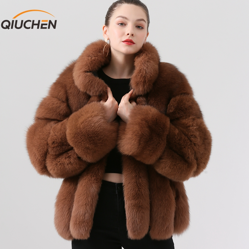 QIUCHEN PJ19018 2019 new arrival real raposa casaco de pele das mulheres grossas de inverno casaco de pele de moda casaco de peles de luxo venda quente pele real