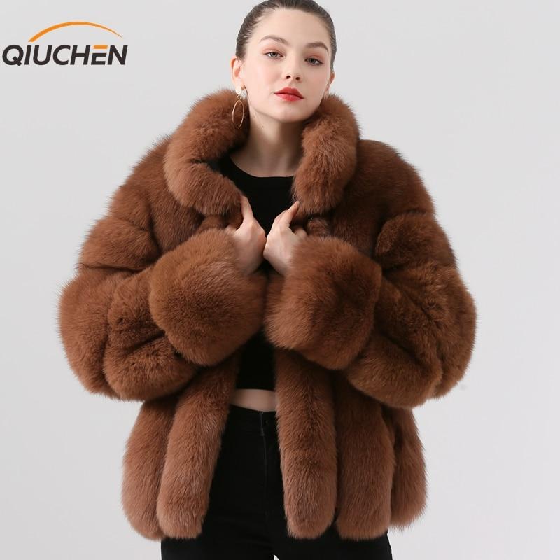 QIUCHEN PJ19018 2019 nueva llegada abrigo de piel de zorro real mujeres invierno abrigo de piel gruesa de moda chaqueta de piel de lujo Venta caliente soporte