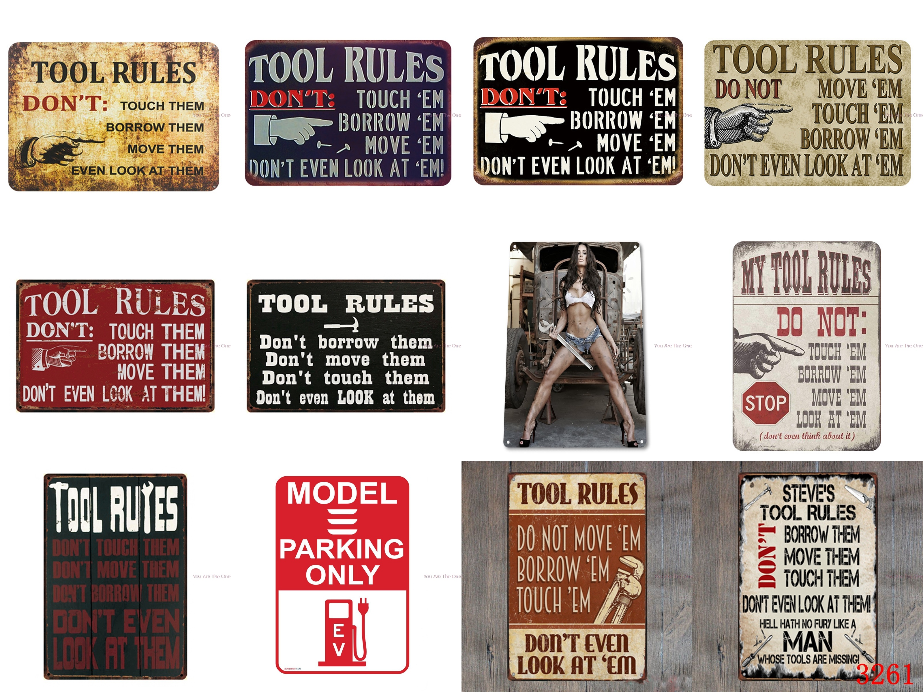Shabby Metal Tin Signs Tool rules: Do not touch them,borrow them,move them and look at them Vintage Garage Plaque Iron Painting