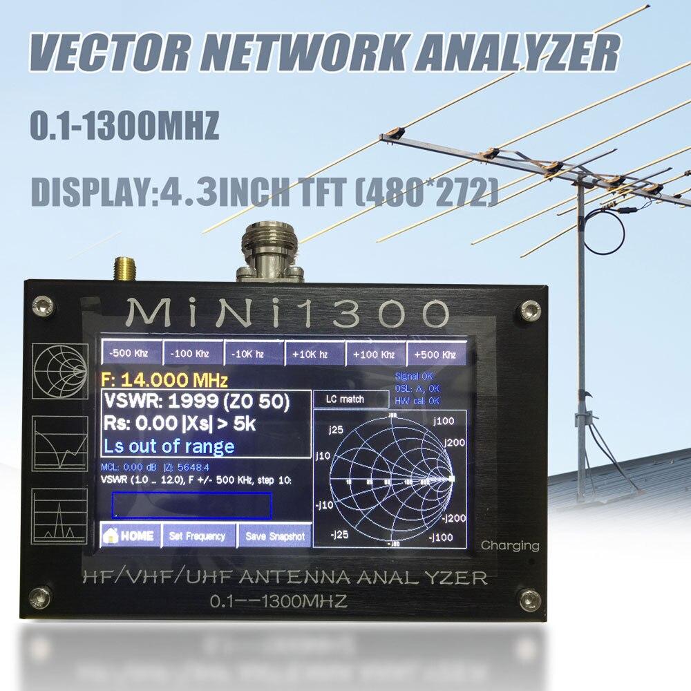 TZT 2020 nouveau Mini1300 HF/VHF/UHF analyseur d'antenne 0.1-1300MHz avec 4.3