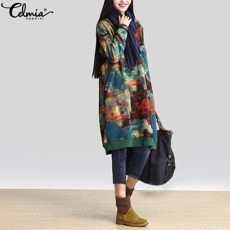 Celmia Frauen Casual Hoodie Kleid Herbst Vintage Gedruckt Hoodies Sweatshirt Jumper Lange Top Vestidos de Festa Plus Größe S-5XL