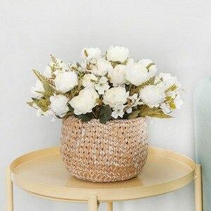 Image 4 - 5 ramo para cabeza de peonías artificiales, peonías pequeñas de seda blanca, flores falsas para fiesta de boda, hogar, flor rosa para decoración, arte rosa