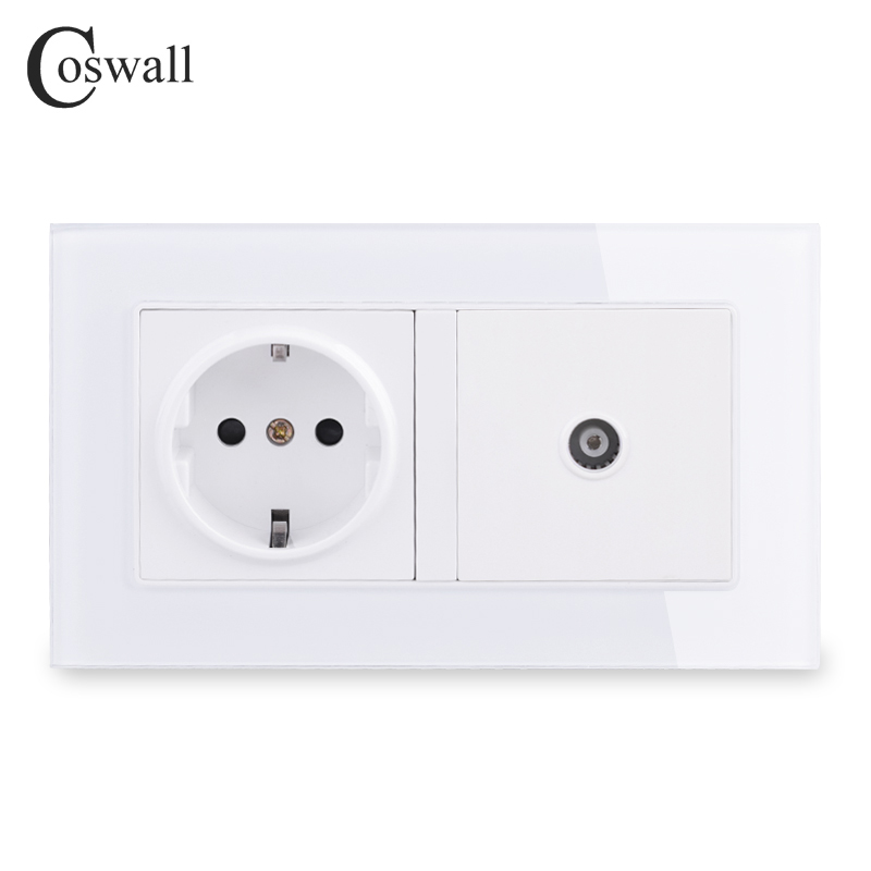 COSWALL 16A Russia Spain EU Standard Power Socket Grounded With Female TV Jack Tempered Crystal Glass Panel