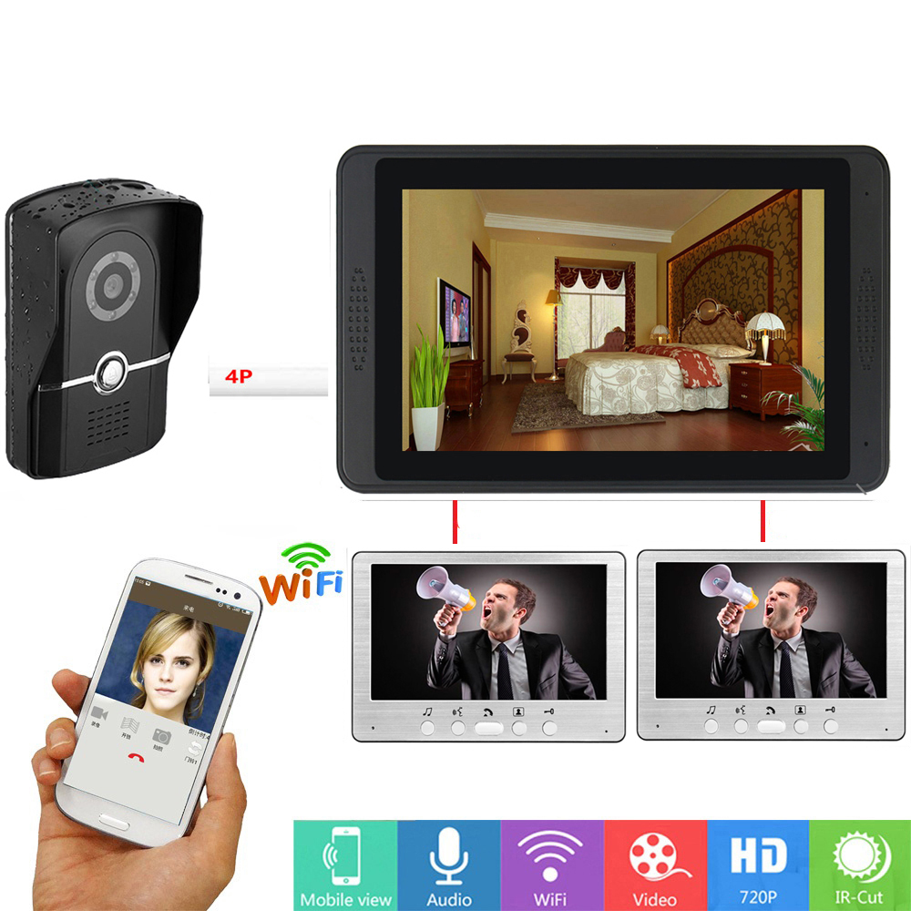 APP Remote Unlock Video Door Phone Intercom 7 Inch Monitor Video Doorbell Intercom With 1200TVL Outdoor Camera KIT SD Recording