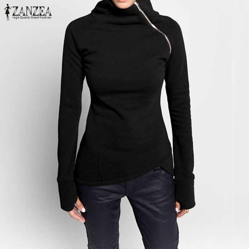 ZANZEA  Autumn Hoodies Sweatshirts 2019 Women Casual Solid Long Sleeve Pullover Turtleneck Slim Fit Zippers Sweatshirt Plus Size
