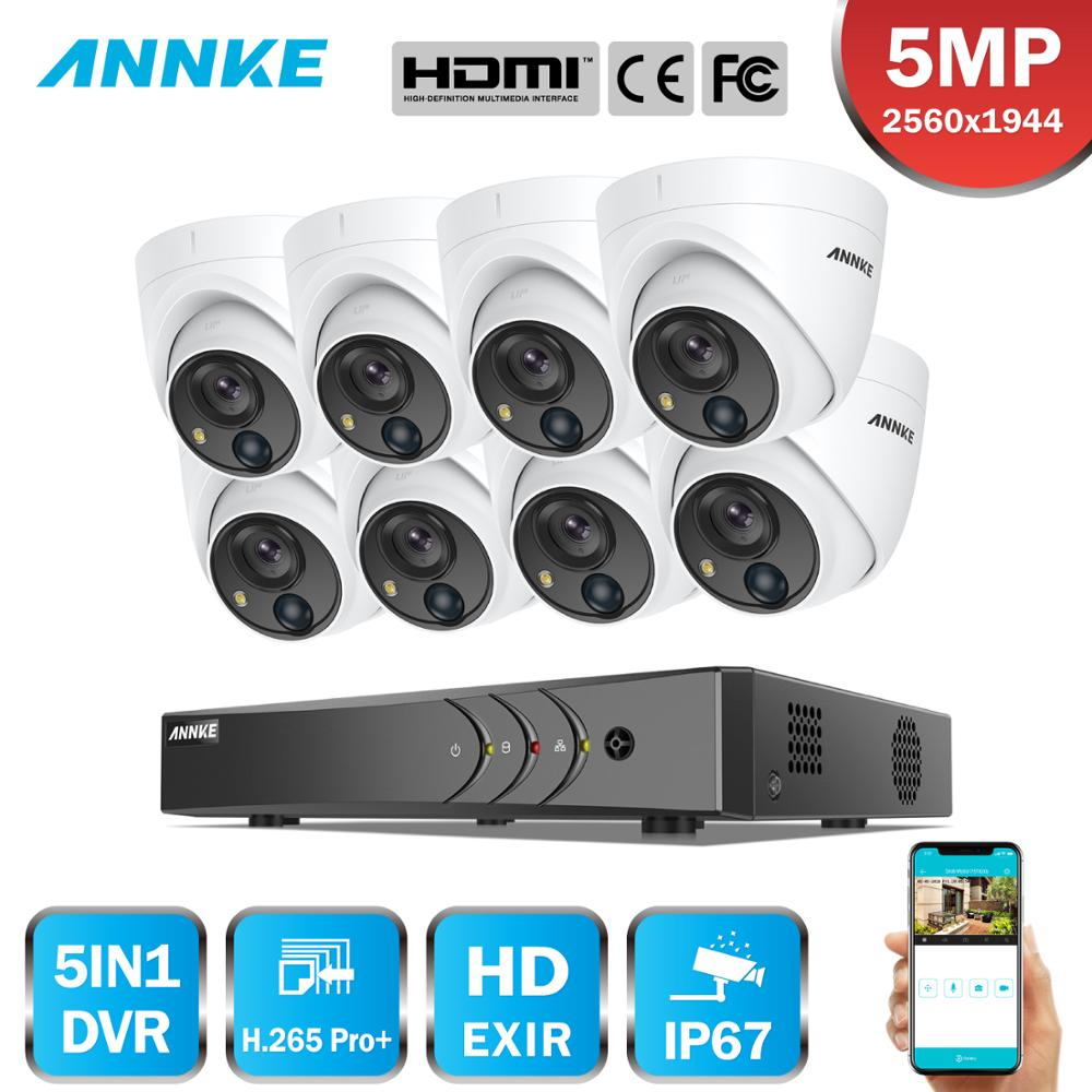 ANNKE 8CH 5MP Video Security System 5MP Lite 5IN1 H.265+ DVR With 8X 5MP Dome Outdoor Weatherproof Camera Surveillance CCTV Kit
