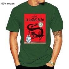 T-Shirt manches courtes col rond pour homme et femme, en coton, imprimé Tintin, Bleu Lotus (1)
