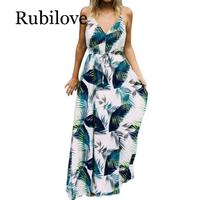 Rubilove Fashion Women V-Neck Sexy Sleeveless Boho Beach Maxi Dress Summer Ladies Casual Vintage Floral Printed Long Party