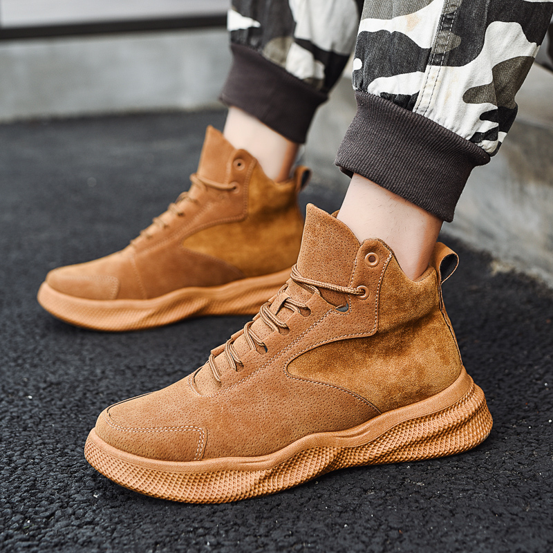 Winter Mens High Leather Boots New Cool Spring Footwear Comfortable Brand Male Casual Boots Fashion Men's Shoes Erkek Ayakkabi