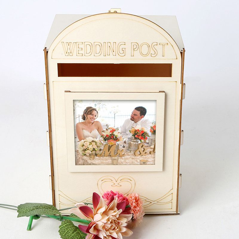 DIY Wooden Wedding Post Box With Lock Reception Baby Shower Wedding Anniversary Gift Card Message Storage Holder Party Decor