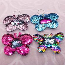 Sparkling Sequins Butterfly Pendant Keychain Key Ring Holder Bag Hanging Decor Sequins Decor Hanging Ornament Key Ring For Girls(China)