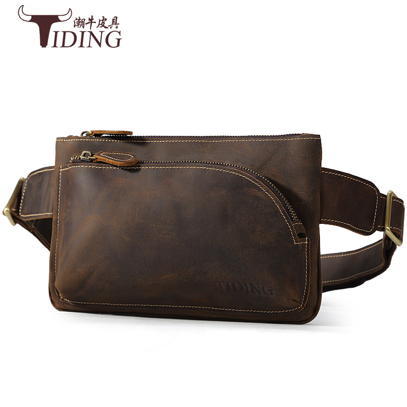 Tiding Multi-functional Casual Cattle Leather Waist Bag Horse Leather Chest Pack Men's Street Fashion Genuine Leather Crossbody