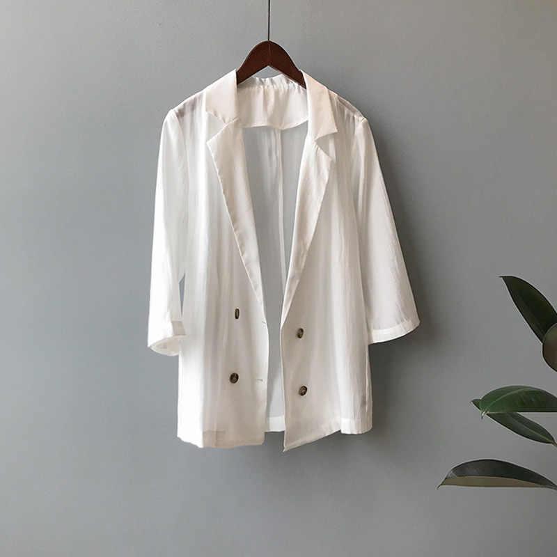 [EWQ] 2019 صيف جديد ملابس الاتجاه الكورية مزدوجة الصدر رقيقة طويلة الأكمام دعوى سترة الإناث فضفاضة معطف المرأة عادية QK01512