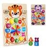 Bebek ahşap Montessori eğitici oyuncak dijital renk bilişsel eşleştirme dijital saat kurulu Montessori oyuncak Toddlers için 2-4 yıl