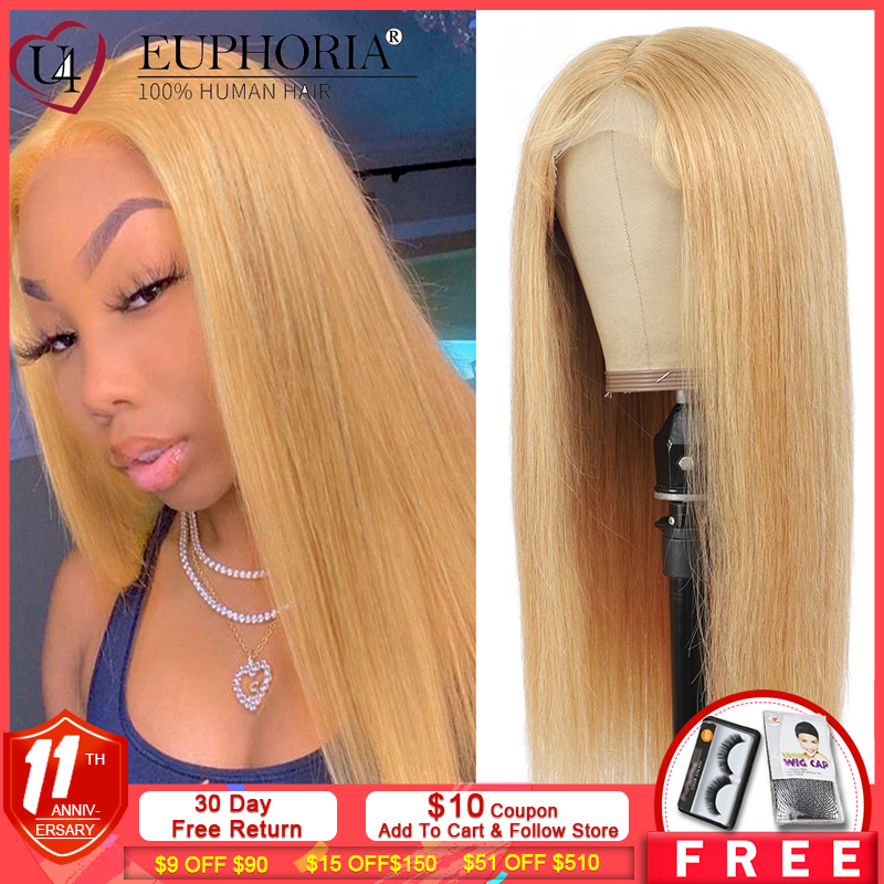 Straight Hair Lace Front Wigs 13x4 Blonde 27 Brazilian Remy Human Hair Lace Closure Frontal Wigs 150% Burg Natural ColorEUPHORIA