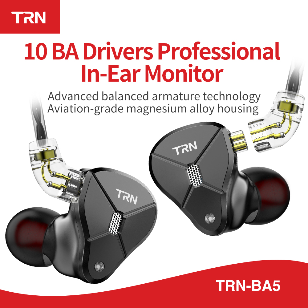 TRN BA5 10BA  Driver Unit In Ear Earphone 10 Balanced Amarture HIFI DJ Monitor Earphone Earbuds With 2PIN Cable TRN V80 V90 T200