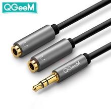 QGEEM אוזניות ספליטר כבל אודיו 3.5mm זכר 2 נקבה שקע 3.5mm ספליטר מתאם Aux כבל עבור iPhone סמסונג MP3 Playe