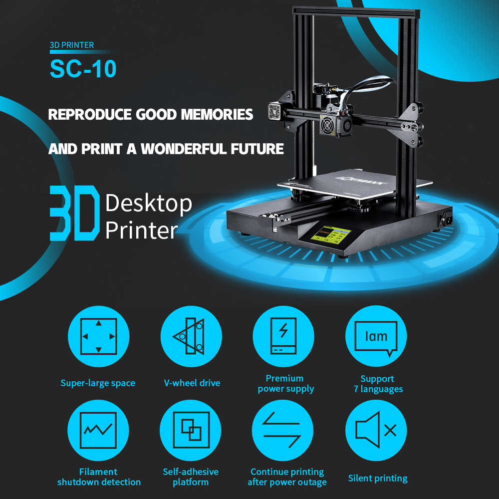 Image 4 - LOTMAXX SC 10 3D Printer Kit Silent Printing 235*235*280mm Build Volume Built in Safety Power Supply Filament Run Out Detection3D Printers   -