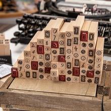 Yoofun 10 Pc/Design Number Series Wooden Rubber Stamp Pen Holder Type Edging Logs Seal DIY Scrapbooking Journal Decoration Stamp