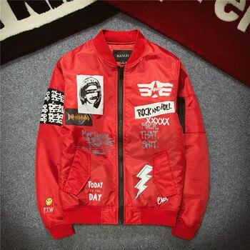 New Arrival Alternative Rock Men's Flight Jacket Spring Autumn Streetwear Red Black Green Plus Size Hip Hop Men Jacket