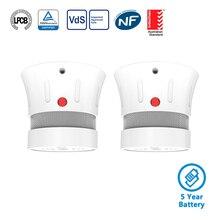 CPVan FSD001 2pcs/Lot Smoke Detector Fire Alarm CE EN14604 Listed Photoelectric Sensor Smoke Detector Alarm 5 Years Battery Life