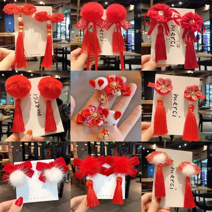 Estilo chinês crianças ano novo kawaii clipes de cabelo cheongsam hanfu acessórios de cabelo cosplay cabelo bola clipe de cabelo rosa borla