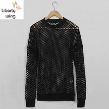 New Design See Through Grid Hollow Out Sexy Mens Top Tees Punk Style Slim Fit Big Size Long Sleeve O-Neck Fashion Male T-Shirts(China)