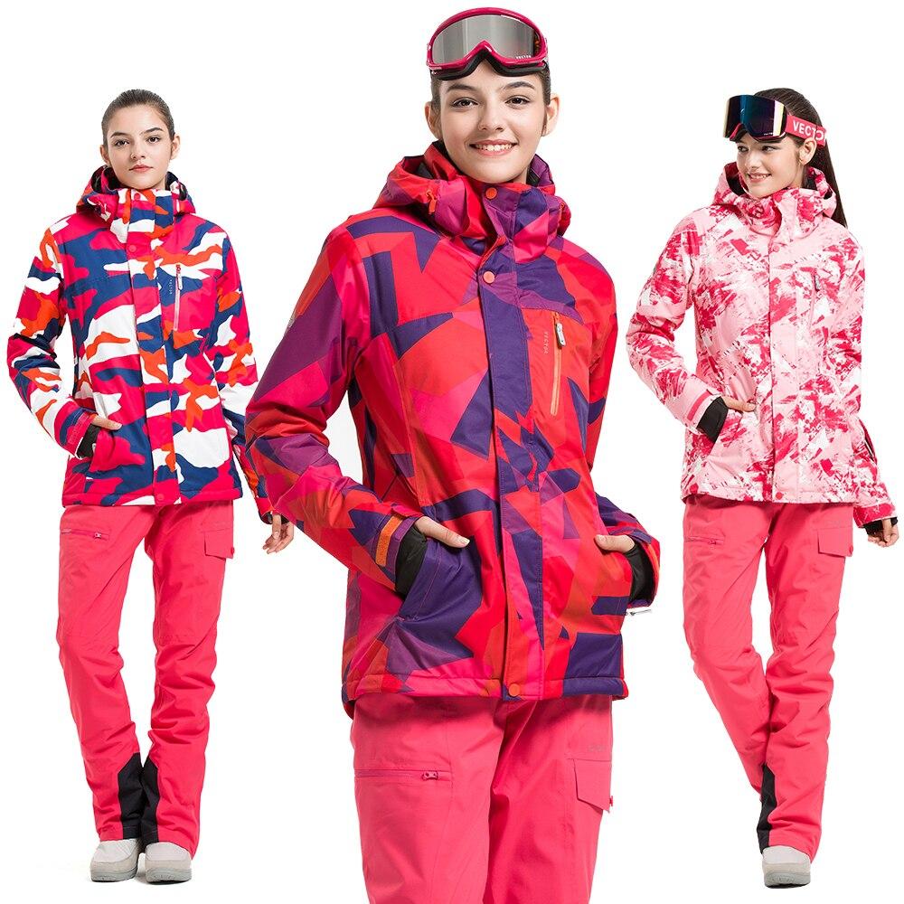 Женский лыжный костюм VECTOR, теплый водонепроницаемый костюм для катания на лыжах, уличная спортивная зимняя куртка, сноуборд, зимние куртки
