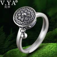 V.YA 100% 925 Silver Buddhist Ring for Women Tibetan Prayer Wheel Ring OM Mantra Ring Good Luck Women Ring