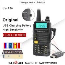 USB şarj aleti pil sürümü Quansheng UV R50 2 Walkie Talkie Vhf Uhf Dual Band radyo UV R50 1 UV R50 serisi Uv 5r tg uv2 UVR50