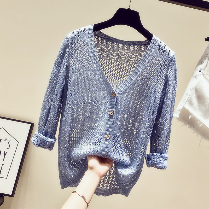 Thin Ice Silk Knitted Cardigan Hollow Fairy Loose 2019 Summer Dress New Short Sunscreen Top Clothes Overfire CEC