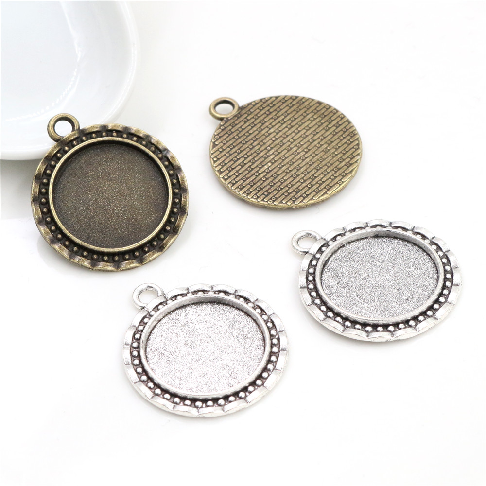 10pcs 20mm Inner Size Antique Silver Plated And Bronze Line Style Cabochon Base Setting Charms Pendant