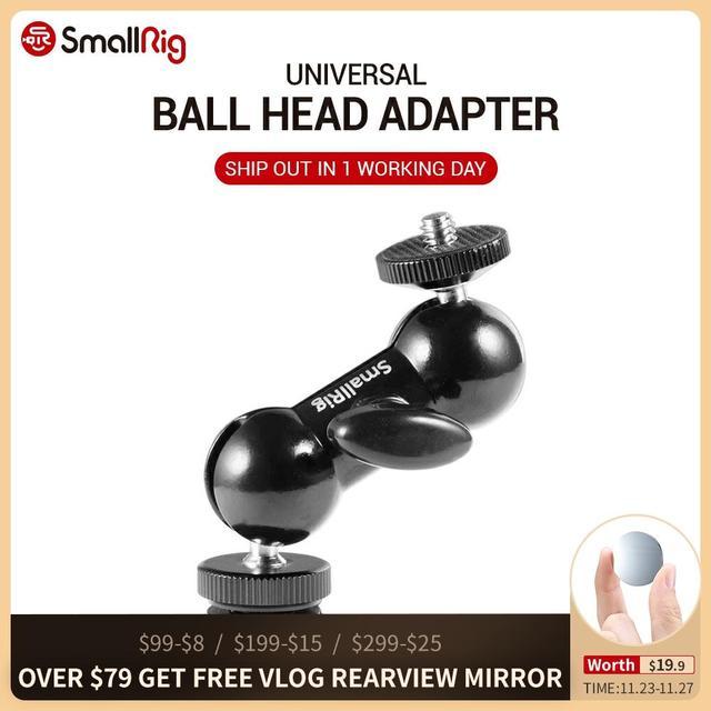 "SmallRig CoolหัวV1 Multi Function Double Ball Headรองเท้าMount & 1/4 ""สกรูสำหรับจอภาพไฟLed 1135"