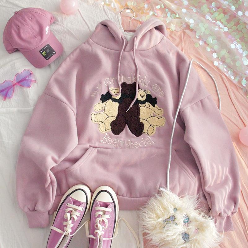 Winter Women Plus Velvet Hoodie Sweatshirt Teen Girls Loose Student Harajuku Cute Bear Soft Sister Pullover Tops Preppy Style