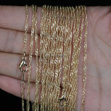 Colliers en chaîne ondulée couleur or, lot de 10 pièces de 2mm KC 16