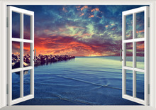 Rock Evening Beach 3D Window Removable Wall Sticker Art Mural Wall Decal Home Decor W012 window elk landscape printed removable wall decal