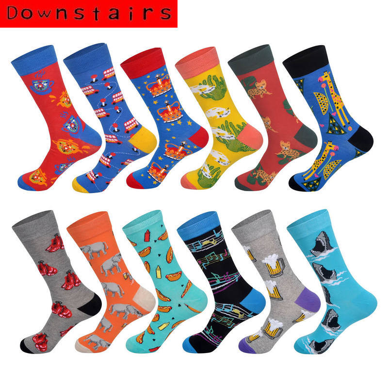 Downstairs Newly Men Cotton Socks Animal Series Rabbit Giraffe Elephant Shark Sausage Beer Musical Pattern Socks EUR38-44