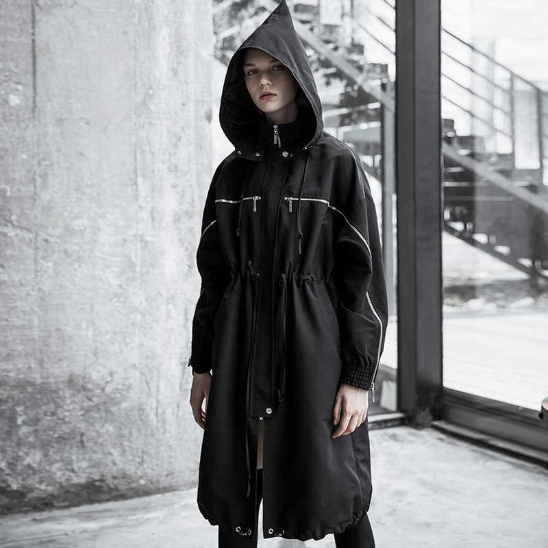 Женская Длинная ветровка в стиле панк со шнуровкой на молнии
