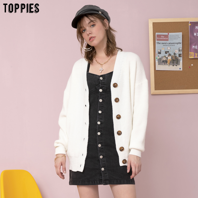 toppies 2020 winter white cardigan sweater womens single breasted knitted jacket coat fashion oversized sweater