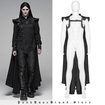 PUNK RAVE Gothic Mens Black Long Cape Punk Warrior Cloak with Silver Chains Chain Fashion Club Halloween Coat Men
