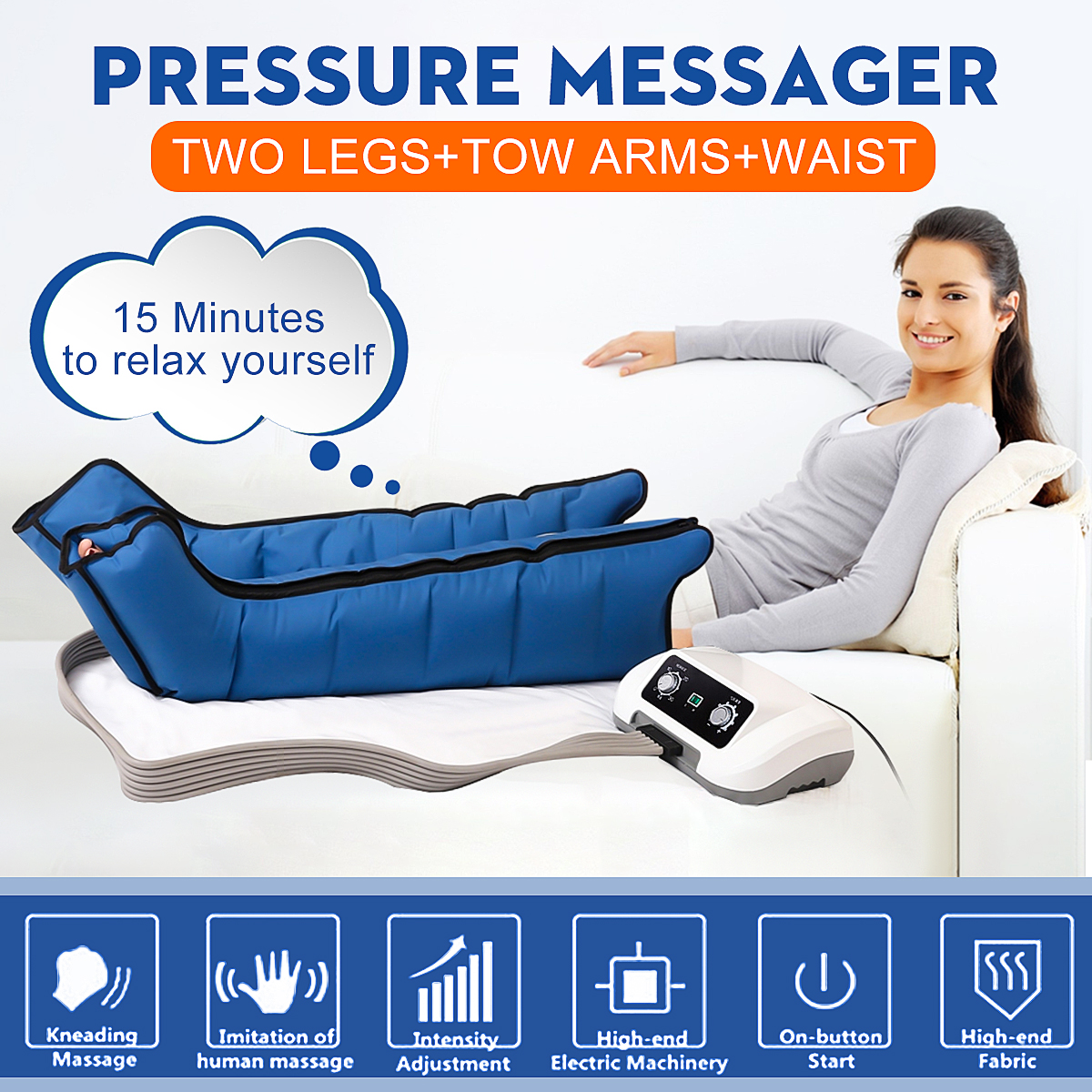 6 Air Chambers Leg Compression Massager Vibration Infrared Therapy Arm Waist Pneumatic Air Wraps Relax Pain Relief Massagers