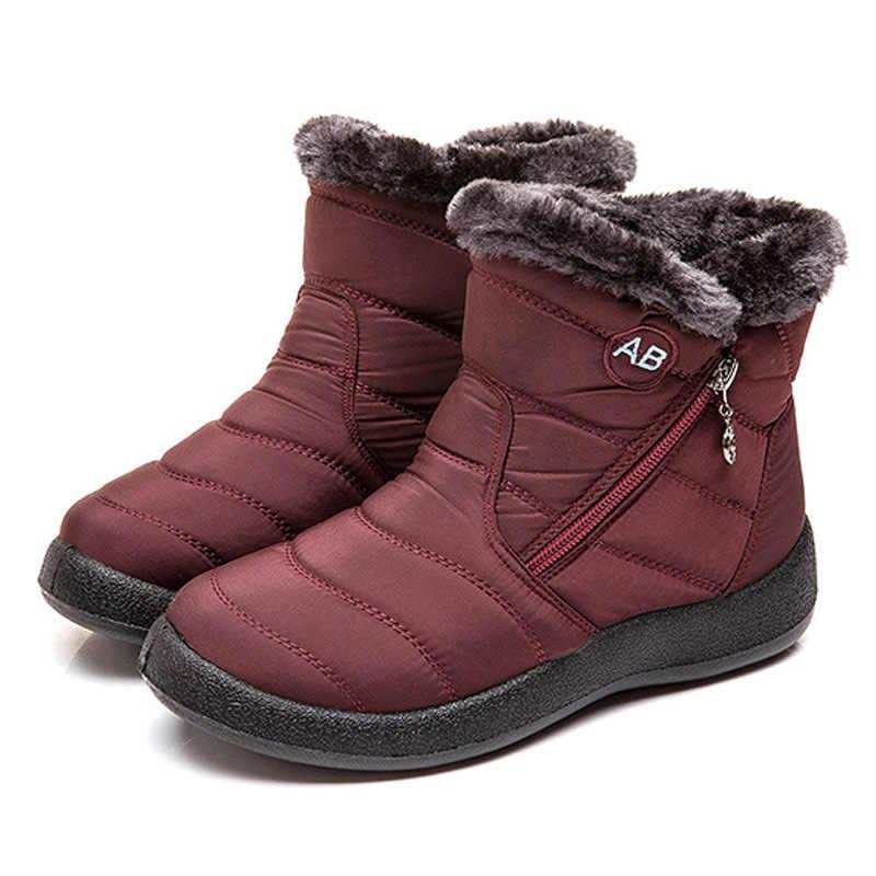 Snowboots Pluche Warme Enkellaars Voor Vrouwen Winter Laarzen Waterdichte Vrouwen Laarzen Vrouwelijke Winter Schoenen Zip Laarsjes Gratis Verzending