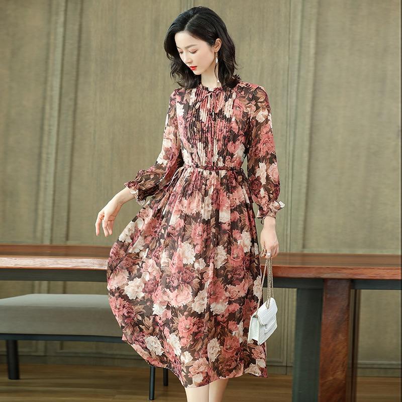 short sleeves silk dress