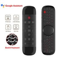 Q40 Air Mouse W2 PRO micrófono de Control remoto por voz 2,4G Mini giroscopio para teclado para H96 MAX X88 pro Android Tv Box PC