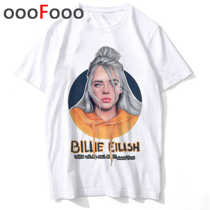 New Billie Eilish Bad Guy Funny Cartoon T Shirt Men O-neck Fashion T-shirt Casual Grunge Aesthetic Tshirt Hip Hop Top Tees Male