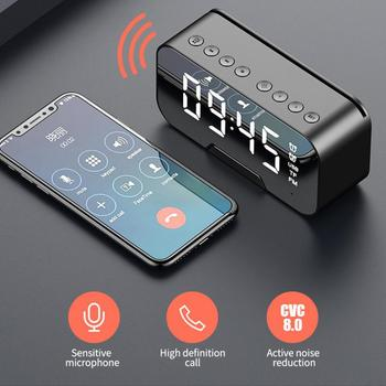 Cyfrowy lustrzany budzik LED zegar Subwoofer bezprzewodowy głośnik Bluetooth 5 0 MP3 FM Radio Bluetooth z funkcją uchwytu telefonu tanie i dobre opinie centechia Przenośne NONE Z tworzywa sztucznego Pełny zakres 2 (2 0) CN (pochodzenie) 25 W ABC plastic 80Hz-20KHz