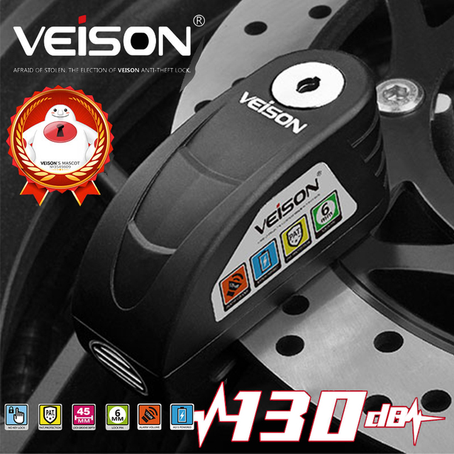 Veison Scooter Disc Lock Waterproof Alarm Locks for Bike Anti theft Safety Motorcycle Brake Padlock Honda Yamaha Suzuki Kawasaki