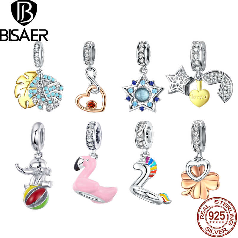 BISAER New Summer Charms 925 Sterling Silver Cute Flamingo Swan Elephant Lucy Clover Star Pendants Beads Ins Style DIY Charms
