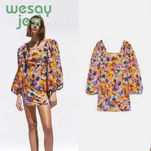 купить Women retro Chic floral print square collar mini dress 2019 long sleeve back zipper fly design female fashion A line dresses по цене 1109.18 рублей